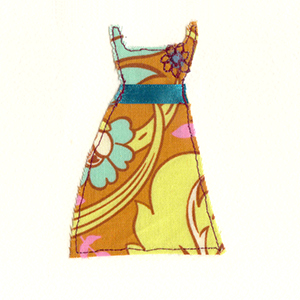 70s fabric dress handmade card