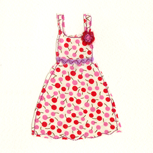 red spotty dress handmade card