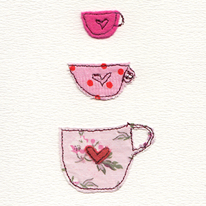 three pink tea cups fabric and stitch handmade card