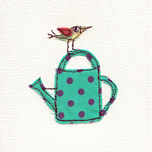 watering can with bird perched on handmade card