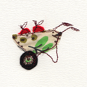 patterned fabric wheelbarrow handmade card