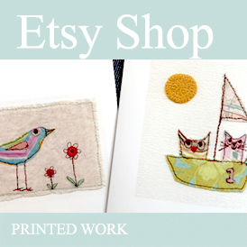stitched bird on post card