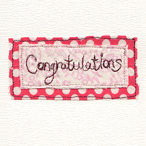 congratulations stitched on patterned fabric backgrounds handmade card