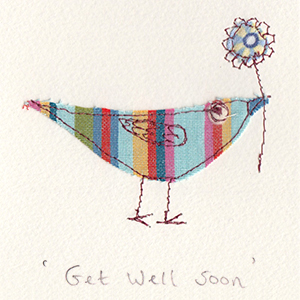 fabric bird with flower get well handmade card