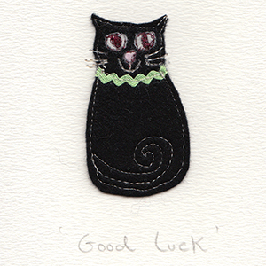 felt black cat good luck handmade card