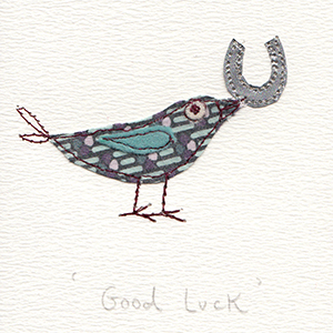 fabric bird with horseshoe good luck handmade card
