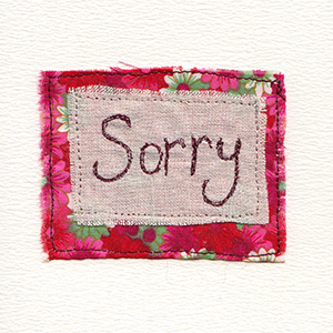 sorry stitched on fabric bakgrounds handmade card