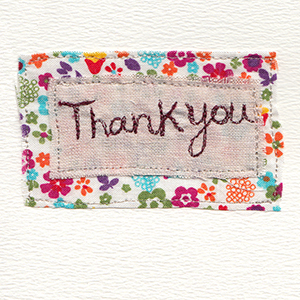 thankyou stitched on fabric backgrounds handmade card