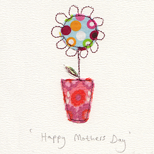 mothers day spotty flower in vase handmade card