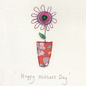 mothers day flower in flowery fabric vase handmade card