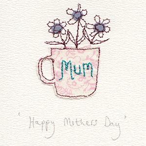 mothers day flowers in cup handmade card