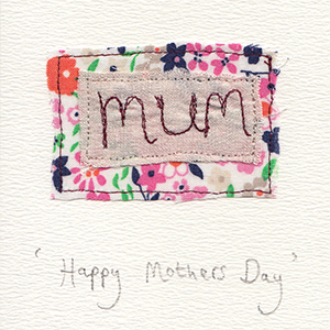 mothers day mum embroidered letters flower fabric handmade card