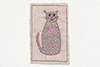 medium sized framed textile picture of cat with a heart on its collar