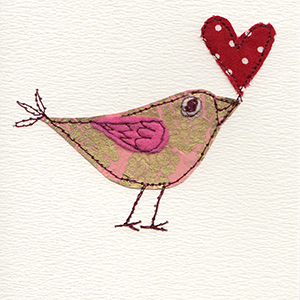 patterned paper stitched bird with red spotty fabric heart in beak handmade card