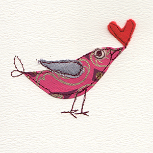 patterned paper stitched bird with red felt heart in beak handmade card