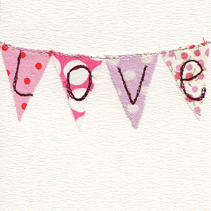fabric valentine bunting with love stitched on handmade card