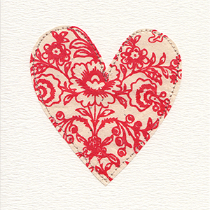white and red patterned paper stitched large valentine heart handmade card