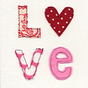 love, in fabric and stitch letters handmade card