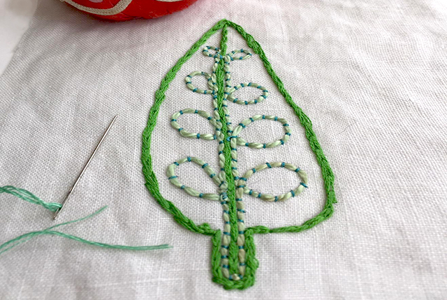 hand embroidered leaf