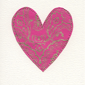 pink and gold stitched paper large heart handmade card