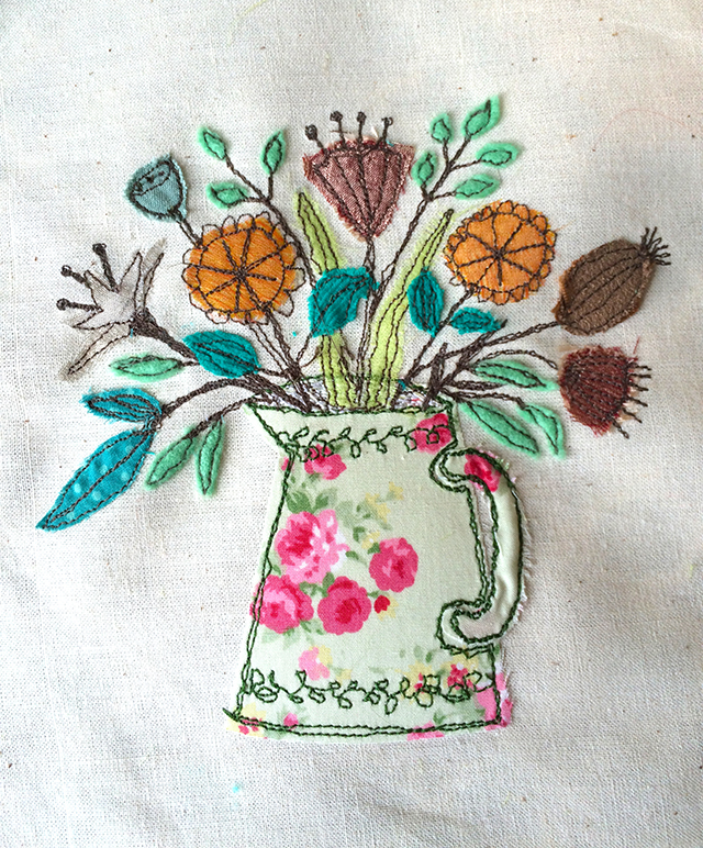 Free Machine Embroidery Workshop Vase